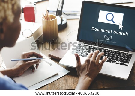 Document Search Finding Forms Inspect Letters Concept - stock photo