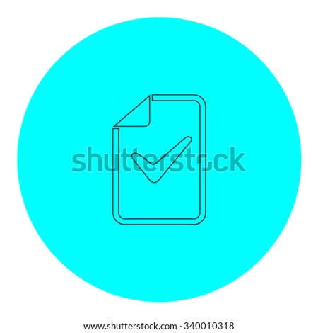 Document with check mark. Black outline flat symbol on blue circle. Simple illustration pictograh on white background - stock photo