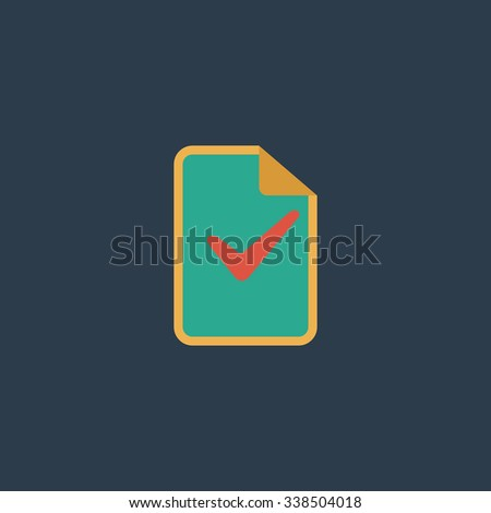 Document with check mark. Colored simple icon. Flat retro color modern illustration symbol - stock photo