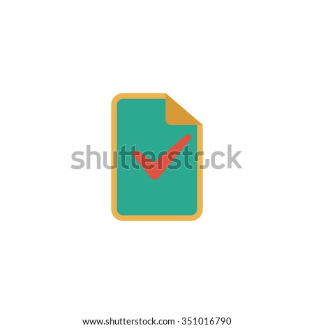 Document with check mark. Colorful pictogram symbol on white background. Simple icon - stock photo