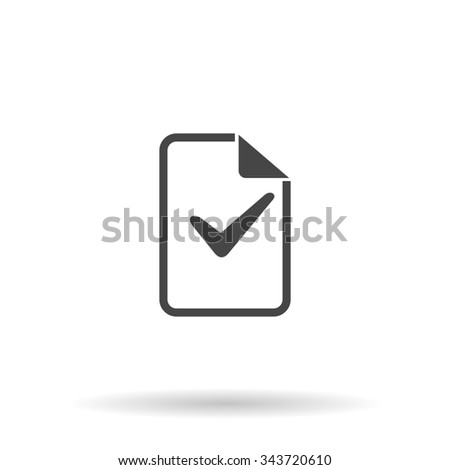 Document with check mark. Flat icon on grey background with shadow - stock photo
