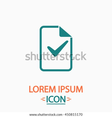 Document with check mark. Flat icon on white background. Simple illustration - stock photo