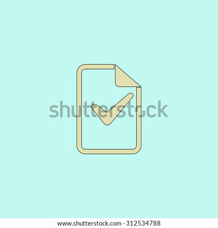 Document with check mark. Flat simple line icon. Retro color modern illustration pictogram. Collection concept symbol for infographic project and logo - stock photo