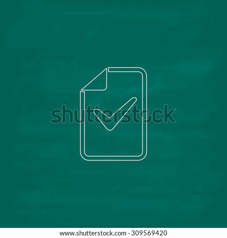 Document with check mark. Outline icon. Imitation draw with white chalk on green chalkboard. Flat Pictogram and School board background. Illustration symbol - stock photo