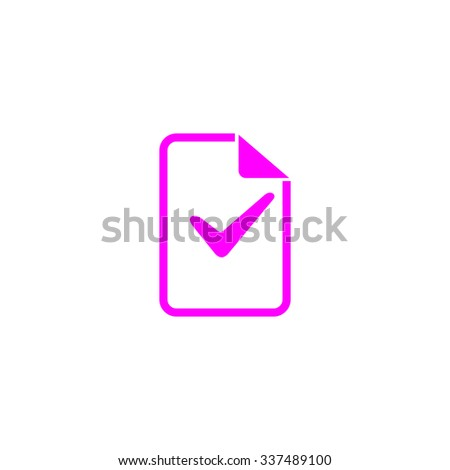 Document with check mark. Pink icon on white background. Flat pictograph - stock photo