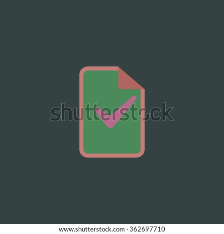 Document with check mark. Simple flat color icon on colorful background - stock photo
