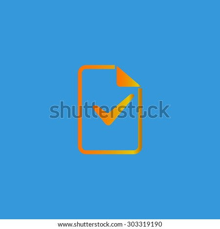 Document with check mark. Simple flat icon on blue background - stock photo