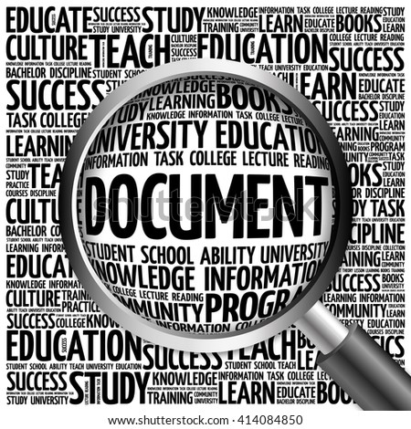 DOCUMENT word cloud with magnifying glass, concept - stock photo