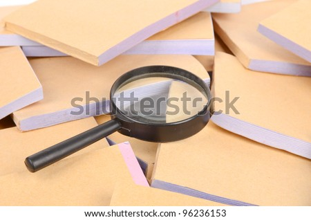 Documents and magnifier