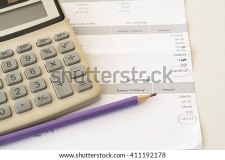 documents monthly expense of credit card  - stock photo