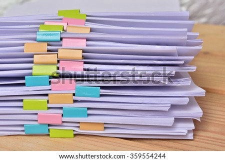 documents on wood Background