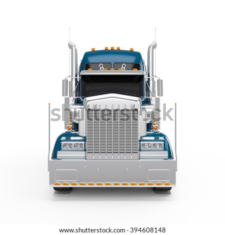 Dodger Blue american truck front view isolated on white background - stock photo