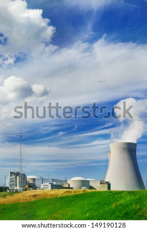 Doel nuclear power station in summer - stock photo