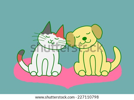 dog and cat cheek to cheek - stock photo