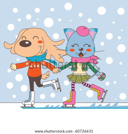 Dog and cat couple ice skating under falling snow. Raster version of vector illustration ID: 58711576 - stock photo