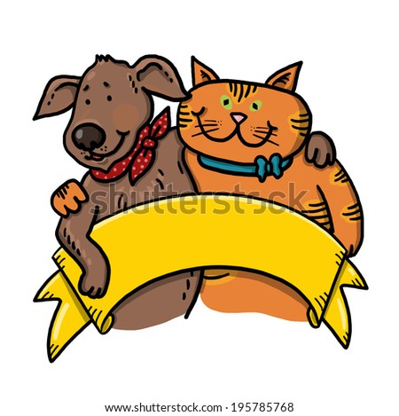 Dog and cat holding a sign illustration; Hugging pets holding a banner