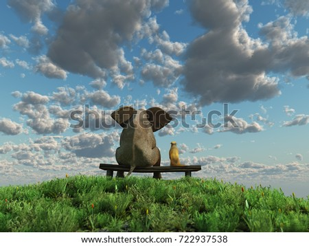 dog and elephant sitting on the green grass field, 3d illustration