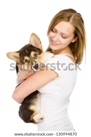 dog and girl.  isolated on white background