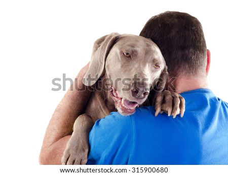Dog and man isolated on white background
