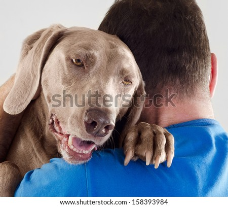 Dog and man together - stock photo