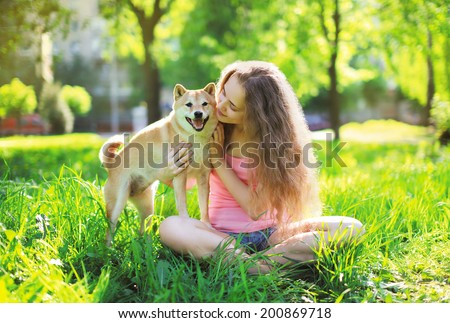 Dog and owner summer - stock photo