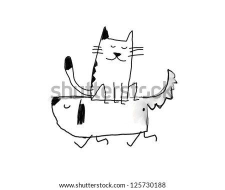 dog and the cat - stock photo