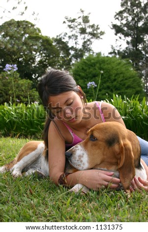 Dog and woman in a park