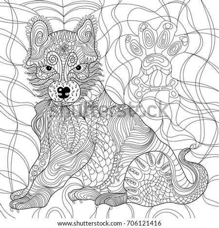 Dog Anti Stress Coloring Book For Adult Isolated Ornament On White Background With Doodle And