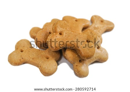 Dog Biscuit, Selective Focus, Isolated on White Background - stock photo