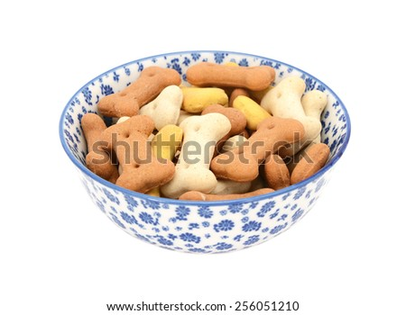 Dog biscuits in a blue and white porcelain bowl with a floral design, isolated on a white background - stock photo