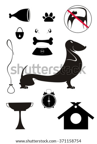 Dog breeding objects collection for design - stock photo
