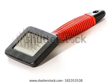 dog brush isolated on white background - stock photo