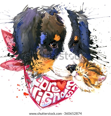 dog companion and cute kitten T-shirt graphics. watercolor dog illustration. Forever friends handwritten text. unusual illustration  puppy dog for fashion print, poster, textiles, fashion design  - stock photo