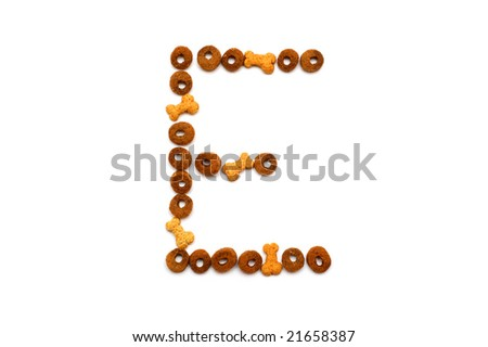 Dog food alphabet - E - stock photo