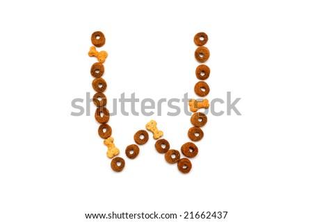 Dog food alphabet - W - stock photo
