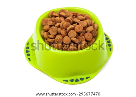 dog food in a bowl on a white background - stock photo