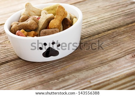 Dog food in a bowl on wooden table - stock photo