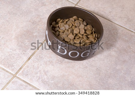 Dog food in a dog's own cup on the kitchen floor. - stock photo