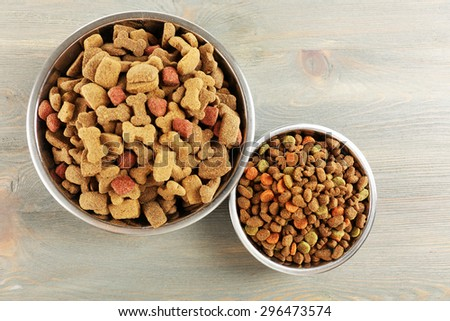 Dog food in bowls on wooden table - stock photo