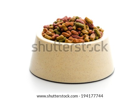 Dog food isolated on white - stock photo