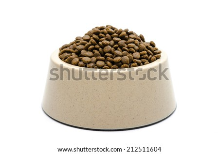 Dog food isolated on white - stock photo