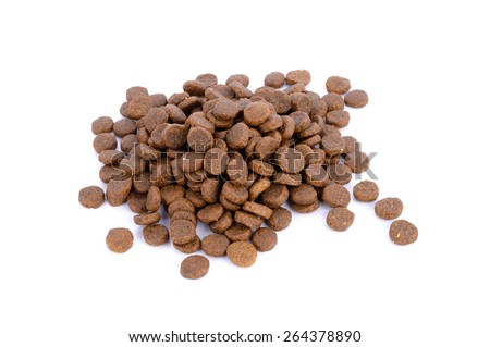 dog food isolated on white background, group brown