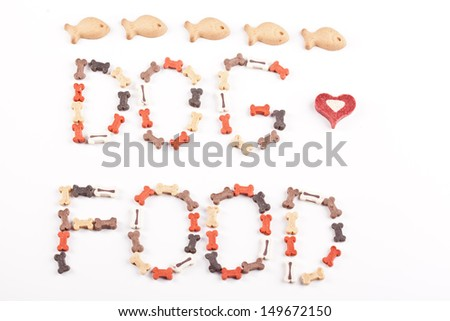 dog food text -created from small bones - stock photo
