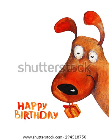 Dog from corner with present. Happy birthday. Watercolor illustration. Hand drawing - stock photo