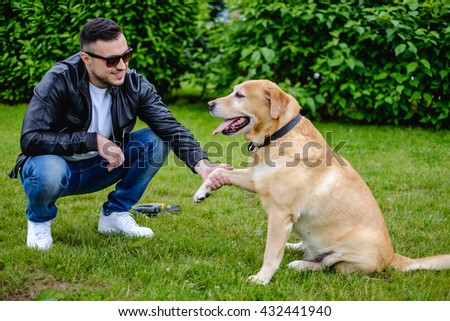 Dog giving paw to owner in the park