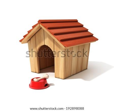 dog house, bowl and bone 3d illustration - stock photo