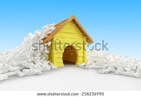 dog house many bones on a white background - stock photo