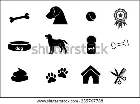 Dog icon set - stock photo