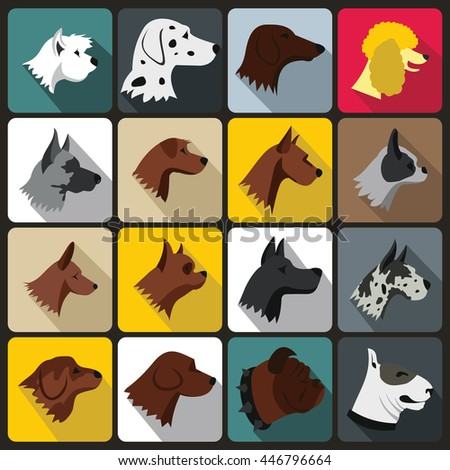 Dog Icons set in flat style for any design