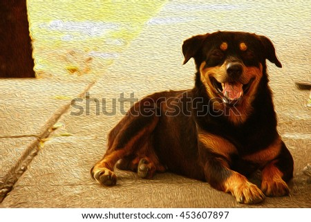 dog lay on the ground with oil painting effect